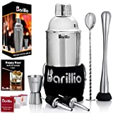 Elite Cocktail Shaker Set Bartender Kit by BARILLIO: 24 oz Stainless...