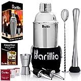 Elite Cocktail Shaker Set Bartender Kit by BARILLIO: 24 oz Stainless Steel Martini Mixer, Muddler,...