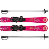 Lucky Bums Kids Beginner Ski and Pole set with Bindings, Pink