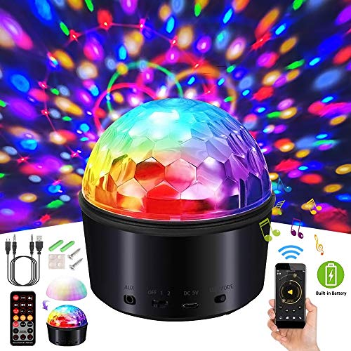 3 in 1 Sound Activated Party Lights/Night Lights/Wireless Speaker, Disco Ball Strobe Light Disco Lights with Remote Control&USB 9 Colors DJ Lights LED Stage Light for Home Festival Club Party Wedding