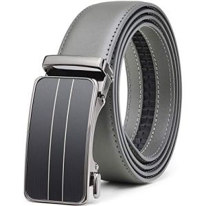 Mens Ratchet Dress Belt Leather 1 3/8″ with Automatic Click Slide Buckle,Adjustable Trim to Fit