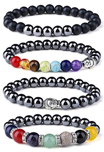 LOYALLOOK 4Pcs Chakra Hematite Bracelet Healing Magnetic...
