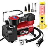 Portable Air Compressor Tire Inflator - 12V DC Digital Pump with Gauge for Car, Motorcycle, Ball, Air Matresses, 3.7M Extended Power Cord, Upgraded Quick Connector, Extra Fuse, Easy & Fast Inflation