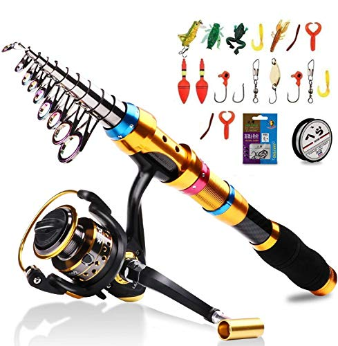 BNTTEAM 6 Set 2.1m, 2.4m, 3.0m 3.6m 99% Canna da Pesca telescopica in Carbonio e 12BB Mulinello e Esche e Linea e Ganci e galleggianti, Set Canna da Pesca (Gold/3.6M/141.7in/11.81ft)
