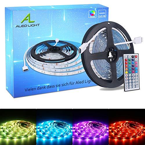 ALED LIGHT LED Strip RGB 5M SMD 5050 150 LEDs LED Streifen, LED Band, 12V Netzteil & 44 Key Fernbedienung, LED Stripes Lichtband Leiste Band Beleuchtung