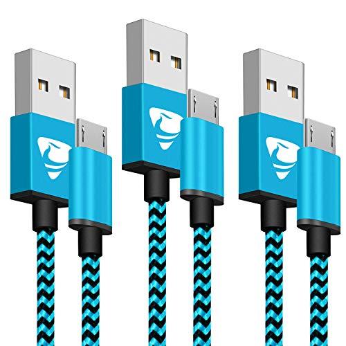 Aione Cavo Micro USB [3 Pezzi, 2m],Cavo Android Nylon Intrecciato, Carica Rapida USB Caricatore Compatibile con Samsung A10/S7/S6/S5/J7/J5/J4/J3,Huawei P Smart 2019/ P8 Lite/ P9 Lite / Y6, HTC, PS4