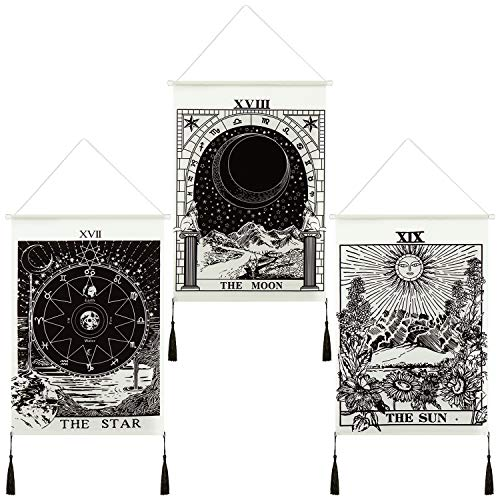 3 Pieces Tarot Card Tapestry Moon Star and Sun Tapestry...