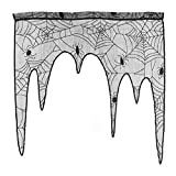 BinaryABC Halloween Spider Web Lace Window Valance Curtain Fireplace Mantle Scarf Cover,Halloween Party Decoration