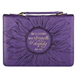 Christian Art Gifts Women's Fashion Bible Cover Strength and Dignity Proverbs 31:25, Purple/Gold Sunflower Faux Leather, Large