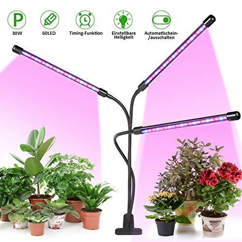 Pflanzenlampe LED, LED Grow Lampe mit Timer 30W Pflanzenleuchte—LED Grow Light Wachsen Dimmbar 3 Modi 8 Helligkeiten für Zimmerpflanzen,Gemüse und Obst und Blumen