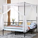 VECELO Metal Canopy Netting Bed Frame, Strong Firm Support & Easy Set up Structure/No Box Spring Needed (Black, Full)