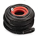 Synthetic Winch Rope 3/8' x 85' - 25000 Ibs Winch Line Cable Rope with Protective Sleeve for 4WD Off Road Vehicle JEEP SUV