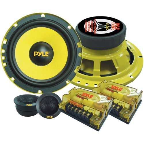 """2Way Custom Component Speaker System 6.5"""" 400 Watt Component with Electroplated Steel Basket, Butyl Rubber Surround & 40 Oz Magnet Structure Wire Installation Hardware Set Included Pyle PLG6C"""