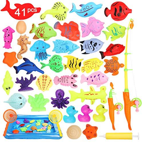 Ucradle Canna da Pesca Giocattolo, 41Pezzi Giocattolo Pesca Magnetico,Giocattolo da Bagno Giocattolo Bambini 2 3 4 5 Anni,Giocattolo di Sabbia Giocattolo all'Aperto Gioco Educativo per Ragazzo Ragazza