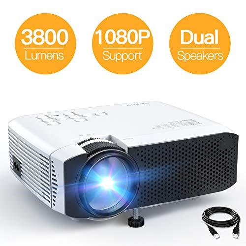 Beamer APEMAN Mini Beamer 3800 Lumen 1080P Full HD Unterstützt Aktualisierte Tragbar Projektor LED 45000 Stunden Heimkino Sport HDMI/TF/USB TV Box/Chromecast iOS/Android Handybeamer Mehrweg
