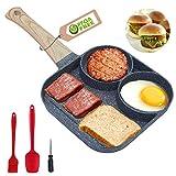 Poêle à frire anti-adhésive - 3 sections - Poêle à griller carrée - Poêle à œufs au plat pour petit déjeuner, hamburger, steak et bacon - Convient pour cuisinière à gaz et cuisinière à induction