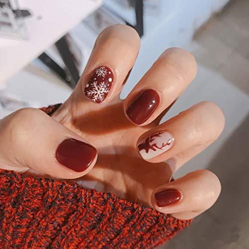 Cagora Glossy Press on Nails Red Short Square Fake Nails Snowflake Full Cover Acrylic Nail Christmas False Nails for Women and Girls 24PCS