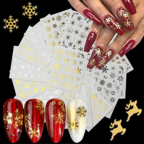 Christmas Nail Art Stickers Metal Gold Xmas Nail Decals Water Transfer Design Nail Art Supplies Christmas Nail Sticker Holiday Glitter Snowflake Snowman Deer for Christmas Decorations (16 Sheets)