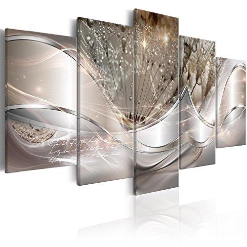 murando Quadro Astratto Fiori 100x50 cm Stampa su tela in TNT XXL Immagini moderni Murale Fotografia Grafica Decorazione da parete 5 pezzi Soffione grigio argento a-C-0087-b-n