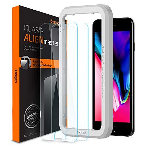 Spigen 【2枚セット】 iPhone8 ガラスフィルム / iPhone7 / iPhone6s ガラスフィルム【ガイド枠付き】 4.7...