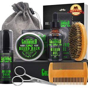 Beard Kit,Beard Growth Kit,Beard Grooming Kit,w/Beard Foam/Shampoo/Wash,Growth Oil,Balm...