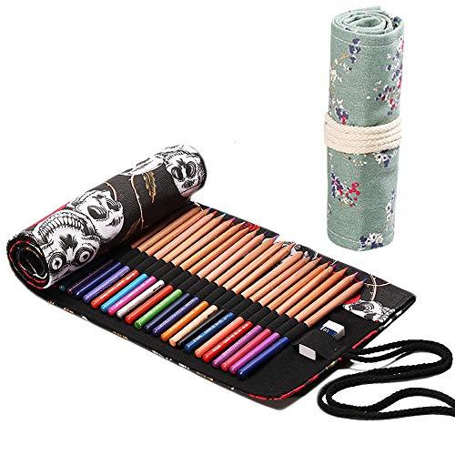 2 Rotoli Tela Matita Wrap, Tela Matite Cassa di Matita Astuccio, Roll Up Pencil Pouch, artisti astuccio arrotolabile, colorato Sacchetto della matita, per artisti, studenti, pittori 48 fori+ 72 fori