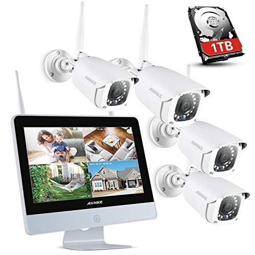 ANNKE Kit di Sorveglianza Videosorveglianza Wifi con Monitor LCD da 12 pollici Sistema di Videosorveglianza 8CH 1080P Plug e Play Salvaschermo Automatico Visione Notturna Accesso Remoto 1TB HDD