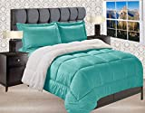 Elegant Comfort Premium Quality Heavy Weight Micromink Sherpa-Backing Reversible Down Alternative Micro-Suede 3-Piece Comforter Set, King, Turquoise