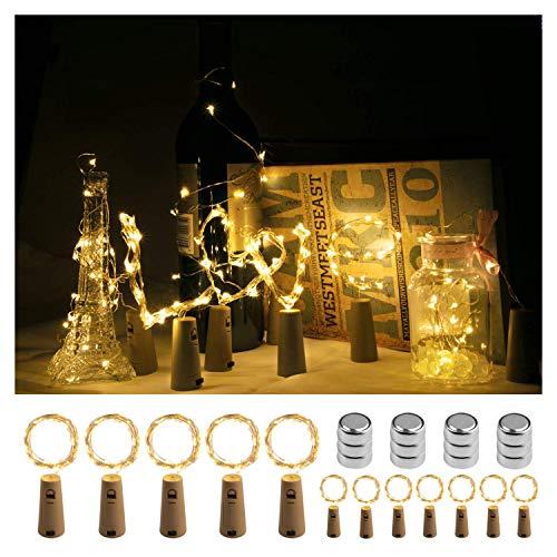 Luci Led Bottiglia Tappo, Homegoo 2M 20 LED Luci a Corda per Vino a Batteria con Sughero per Camere da Letto Fai da te Feste Matrimoni Decorazioni Natalizie (Bianco Caldo, Confezione da 12)