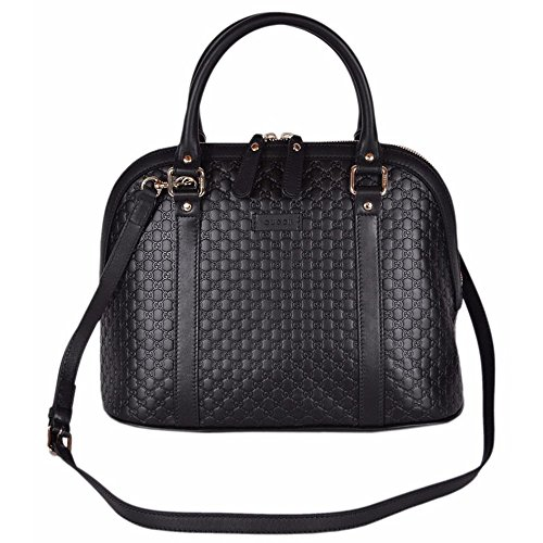 """Black Calf Leather Micro GG Guccissima Pattern Dual Handles with a 3.5"""" Drop Detachable/Adjustable Shoulder Strap with a 21"""" Drop Zip Top Close Gucci Engraved Golden Hardware Flat bottom Structured Styling Interior Zip and Slip Pockets Measures 12"""" (W) x 10"""" (H) x 6"""" (D) Interior """"Gucci"""" Leather Tab Interior Serial Number Gucci Dust Bag Made in Italy Condition: New with Tags What is Included: Bag, Tags, Dust Bag and Controllato Card Color: Black Size: Medium"""