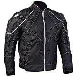 ILM Motorcycle Jackets Carbon Fiber Armor Shoulder Moto Jacket for Men and Women (XL, BLACK)