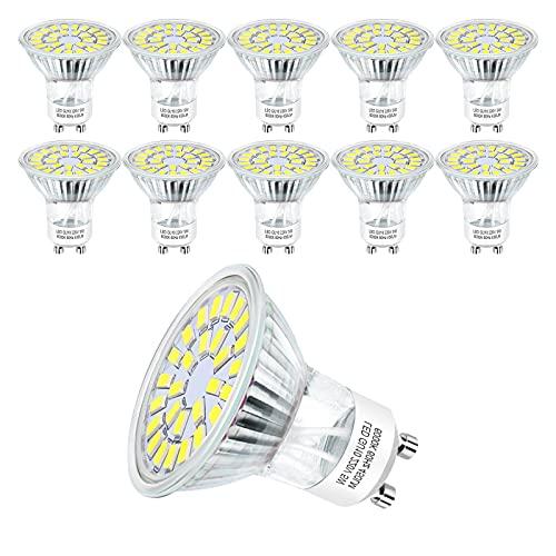 Hilleagle Lampadina Faretti LED GU10 Luce Bianca Fredda 6000K, 5 Watt 450 lumen Equivalenti 50W Lampada Alogena, Lampadine LED Non Dimmerabili, Angolo del Fascio di 110 Gradi, Confezione da 10