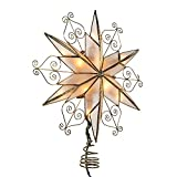 Kurt S. Adler UL3110 Kurt Adler 10-Light 6-Point Capiz Star Treetop with Scroll Design, Gold