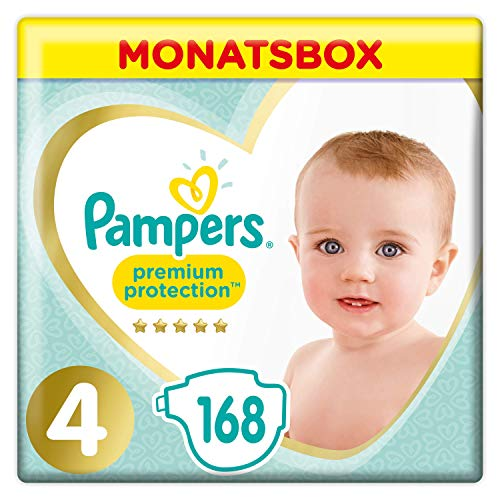 Pampers Premium Protection Windeln, Gr.4, 9-14kg, Monatsbox, 1er Pack (1 x 168 Stück)