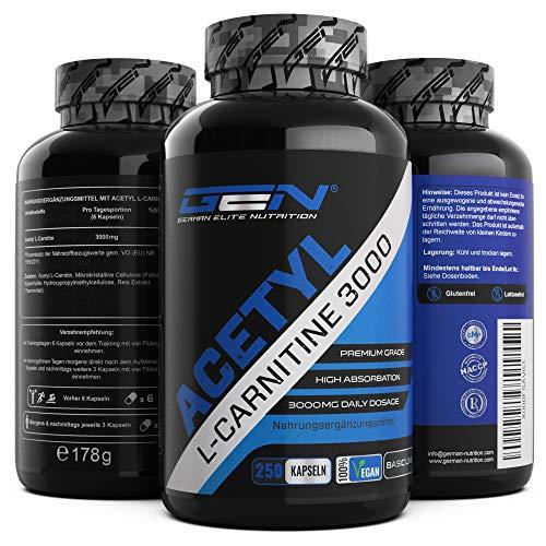 Acetyl L-Carnitin 3000 mit 250 Kapseln - 3000 mg pro Tagesportion - Premium: L-Carnitine als Acetyl Form - Hochdosiert - Laborgeprüfte Qualität - Vegan