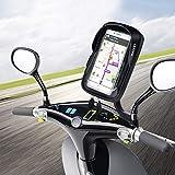 WACCET Ajustable Support Telephone Moto Imperméable Anti-Vibrations Porte Smartphone Moto Etanche...