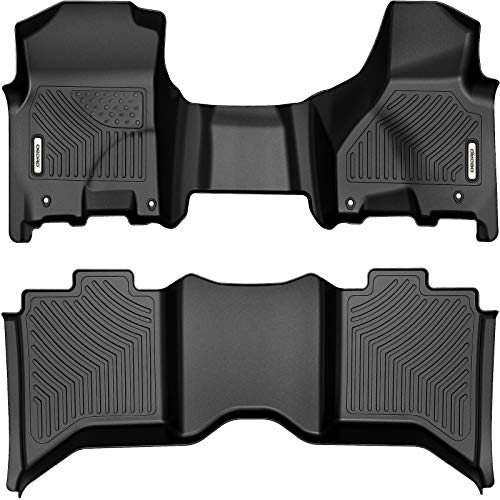 oEdRo Floor Mats Compatible with 2012-2018 Dodge Ram 1500/2500/3500 Crew Cab, 2019-2020 Ram 1500 Classic Crew Cab, 2 Row Liner Set(Over-Hump Front & 2nd Seat), Black TPE All-Weather Guard - Custom Fit