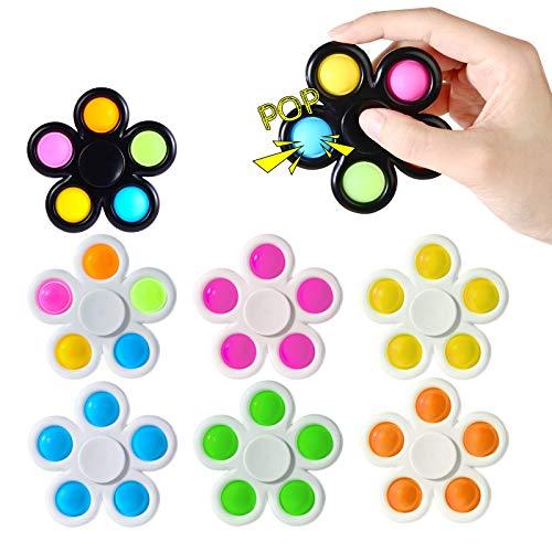 7 Pack Push Pop Pop Bubble Fidget Spinner, Simple Dimple...