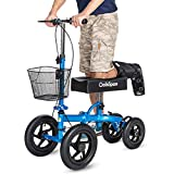 OasisSpace All Terrain Knee Scooter, with 12 inches Air Filled Wheels, Steerable Knee Walker Heavy Duty Crutches for Foot Injuries Ankles Surgery (Blue)