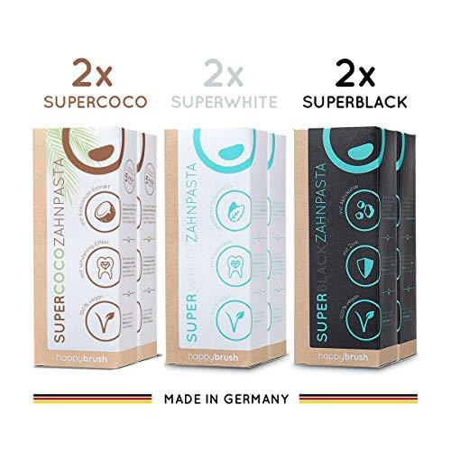 happybrush® Kokosnuss Aktivkohle Zahnpasta für Zahnaufhellung | Zahn Bleaching Set aus Whitening Zahnpasta SuperCoco, SuperWhite, SuperBlack (6 St 75 ml)