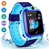 Kids Waterproof Smart Watch Phone, LBS/GPS Tracker Touchscreen Smartwatch Games SOS Alarm Clock Camera Smart Watch Christmas Birthday Gifts for 3-12 Boy Girls (Blue)