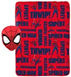 Jay Franco Marvel Avengers Spiderman Plush Pillow and 40' Inch x 50' Inch Throw Blanket - Kids Super Soft 2 Piece Nogginz Set (Official Marvel Product)