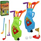 High Bounce Junior 2 in 1 Complete Golf Club Set for Kids; with 2 Golf Cart and 3 Golf Clubs, 1 Practice Hole and 3 Balls for Each cart