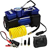 FORUP Dual Cylinder Air Compressor Pump, Heavy Duty Portable Air Pump, 150 PSI, LCD Backlit Digital Display, Auto 12 V Tire Inflator for Car, Truck, RV, Bicycle and Other Inflatables