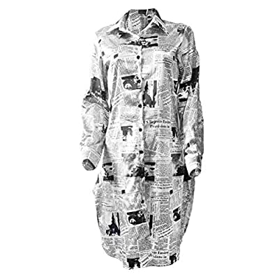"""★ News Paper Print ★ - Chic newspaper print oversized blouse dresses, contrast color are associated with that """"look-at-me"""" vibe, anyone can rock them; Powerful and bold, so don't be afraid to own it ★ Multi Wear Way ★ - Long sleeves can be rolled-up;..."""