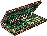 Wegiel Handmade Junior European International Chess Set - 16 Inch Folding Wooden Board & Pieces
