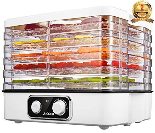Aicook Essiccatore Frutta e Verdura, 5 Ripiani Transparent Altezza Regolabile, Essiccatore per Carne, Frutta e Verdura, Temperatura regolabile 35-70℃, Senza BPA