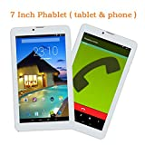 Goldengulf 7 Inch Unlocked Quad Core 3G Phablet Android 4.4 Phone Call Tablet PC 8GB Touch Screen Dual Camera Dual Sim Card Slot Bluetooth Free Leather Cover (Gold)