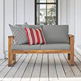 Walker Edison Sorrento Modern Acacia Wood Outdoor Loveseat with Cushions, 30 Inch, Brown