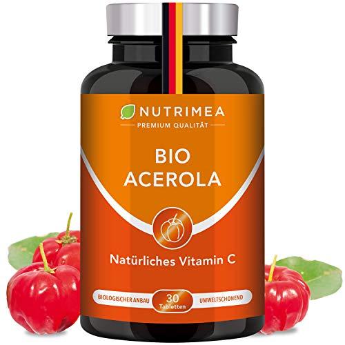ACEROLA BIO Lutschtabletten | Natürliches Vitamin C Hochdosiert 1000mg | Reines Pulver Frucht-Extrakt aus Acerolakirsche | Tablette 100% VEGAN Cherry Kirsche Geschmack - Immunsystem Energie Kinder